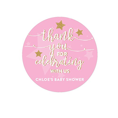 Andaz Press Twinkle Twinkle Little Star Pink Baby Shower Collection, Personalized Round Circle Label Stickers, Thank You for Celebrating With Us, 40-Pack, Madison's Baby Shower Custom Name by Andaz Press