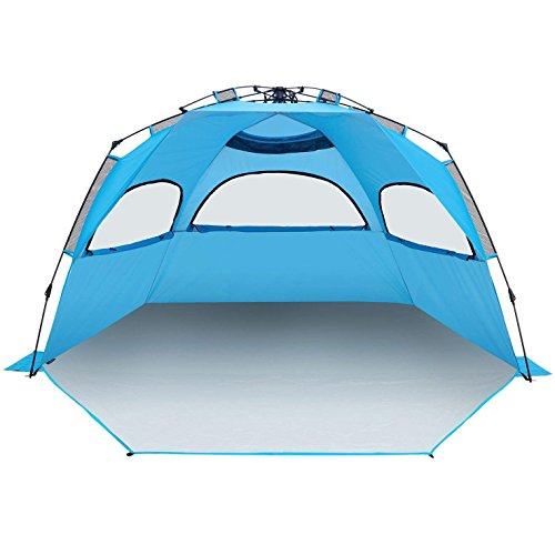 BATTOP 4-5 Person Instant Beach Tent Sun Shelter - Easy Pop Up Sun Shade Beach - Deluxe X-Large ()