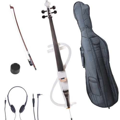 Cecilio 4/4 CECO-3WH Pearl White Electric Cello with Ebony Fittings in Style 3 (Full Size) by Cecilio