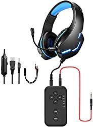 PUTELTAL Voice Changer Headset, LED Light Noise Cancelling Over Ear Headphones, Gaming Headset with Voice Chan