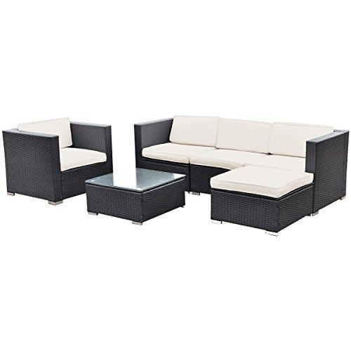 Tangkula 6 PC Patio Rattan Furniture Set Sectional