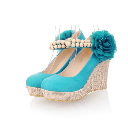 US B WeiPoot 4 PU Pumps Flower High Toe Heel Soft 5 Wedges M Closed with Womens Round Blue Solid Material qfnpgHTq