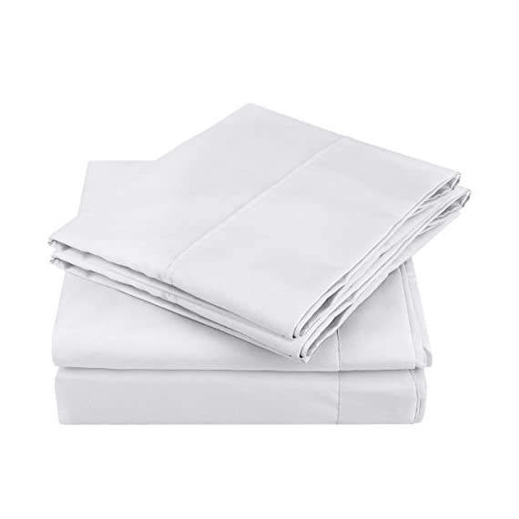 """HOMEIDEAS Bed Sheets Set Extra Soft Brushed Microfiber 1800 Bedding Sheets - Deep Pocket, Hypoallergenic, Wrinkle & Fade Free - 4 Piece(Queen,White) - FIVE-STAR HOTEL SUPER SOFT AND COOLING FEELING : 1800 Bedding SUPER SOFT Sheets - Fine Workmanship & Smooth feeling makes you dreams sweet night and wake up full of energy. These luxuries sheets stay fresh, cool, breathable during hot nights - enhance the quality of sleeping of you and your family and ready for a new day. PREMIUM FABRIC & TOP QUALITY CONSTRUCTION : Made of highest quality DOUBLE BRUSHED MICROFIBER, HOMEIDEAS sheets are softer and more breathable than Egyptian Cotton which is more expensive. 100% microfiber fabrics are woven tightly, providing extra strength and durability. This fabric has desirable properties such as stain resistance, breathing ability, wrinkle resistance. DEEP POCKETS PERFECTLY FIT YOUR BED EVERYTIME : Queen Size Luxury 4 Piece Bed Sheets Set - 1 Flat sheet (90""""x 102""""), 1 Fitted sheet (60""""x 80""""), 2 Pillowcases (20.5""""x 31""""). Deep pocket fitted sheet with elastic all around to ensure sheets stays on bed tightly. Fits mattresses up to 15"""". - sheet-sets, bedroom-sheets-comforters, bedroom - 41nWZPzo%2B0L. SS570  -"""