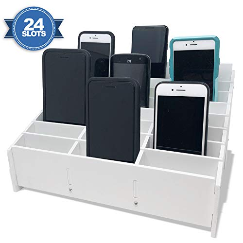 Classroom Cell Phone Storage Cubby and Calculator Storage Caddy Box for Classrooms 24 Slots Cell Phone Holder for - Organizer Case Cell Phone