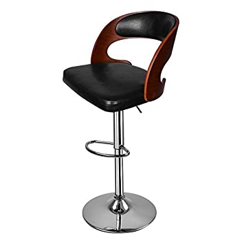 Miraculous Hollylife Walnut Bentwood Bar Stools Faux Leather Swivel Breakfast Barstool Chair 1Pc Black Walnut Short Links Chair Design For Home Short Linksinfo