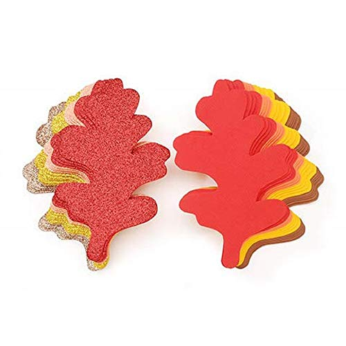 Darice Foamies Bases - Large Oak Leaves Fall Colors and Glitter, 7.5 inches, 36 ()