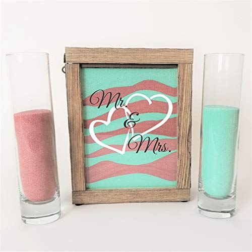 Streamside Shoppe Rustic Unity Sand Ceremony Set Mr. and Mrs. Rustic Shadow Box for Wedding, Vow Renewal, Unity Sand Ceremony Set, Beach Wedding Decor, Unity Candle Alternative ()