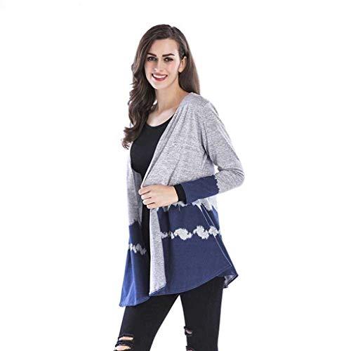 Cappotto Blau Autunno Elegante Coat Stampate Di Donna Especial Casual Outwear Estilo Manica Outerwear Baggy Moda Lunga zSqUVpM