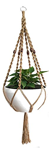 - 6 Legs Macrame Natural Jute and Cotton Plant Hanger & Holder and Metal Ring, 51-inches Length (Without The White Pot and Plant) (Jute) (Brown-Jute)