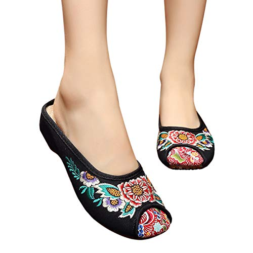CINAK Embroidery Flats Slippers Flower- Casual Slip-ons Comfortable Loafer Chinese Embroidered Shoes Ballet Flats(8 B(M) US/UK6/EU39/CN40/25CM,Black)
