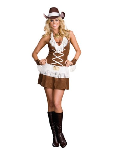 [Dreamgirl Women's Howdy Partner Costume,Brown,Large] (Howdy Partner Halloween Costume)