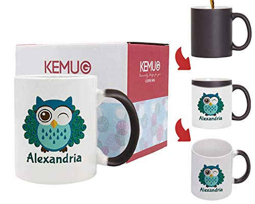 Kemug - Personalized Owl Peacock Monogrammed Ceramic Coffee Mug Cute Bird Design - Heat Color Changing Mug ()