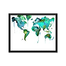 World Map Blue Green Watercolor, Travel Poster, Minimalist Poster, Home Decor, College Dorm Room Decorations, Wall Art