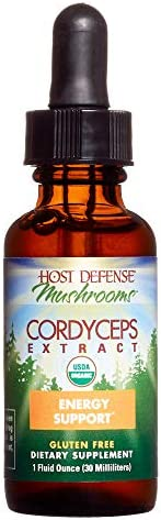 Host Defense, Cordyceps Extract, Supports Energy and Stamina, Daily Mushroom Supplement, Vegan, Organic, 1 fl oz 30 Servings