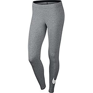 Nike Womens Club Legging Large Swoosh Dar Grey Heather/White 815997-063 Size Small