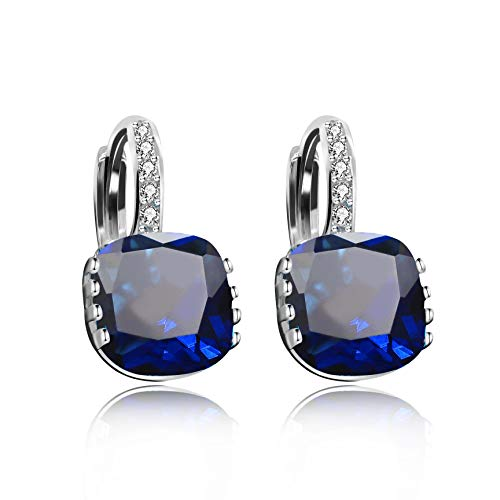 Uloveido Cushion Cut Dark Blue Cubic Zirconia Pendant Lever Back Dangle Earrings White Gold Plated for Women Girls DML115-Dark (Blue Cubic Zirconia Pendant)