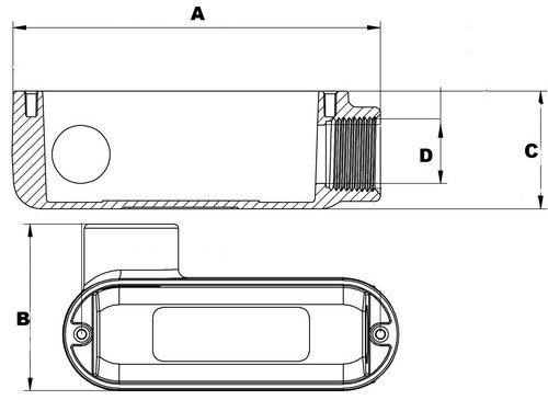 Morris 14104 Rigid Conduit Body, Aluminum, Type LL, Threaded, 1-1/2'' Thread Size