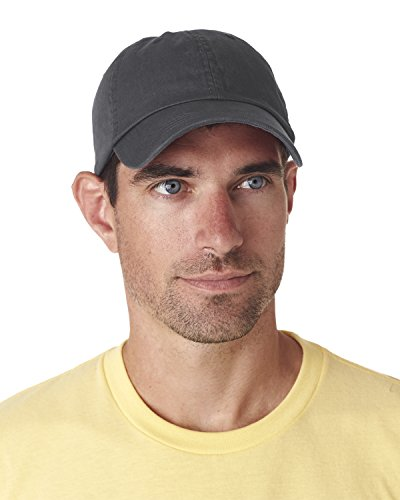 Ultraclub Classic Cut Chino Cotton Twill Unconstructed Cap 8102 -Charcoal One (Cotton Chino Twill Cap)