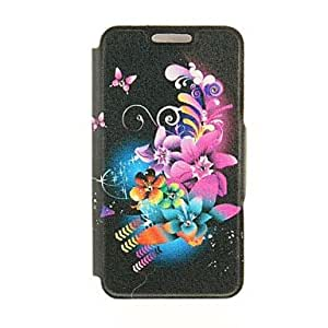 QYF Kinston Blue Bottom Colorful Flowers Diamond Paste Pattern PU Leather Full Body Case with Stand for iPhone 6 Plus