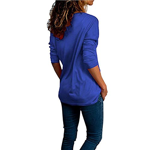Office FashionSolid Chemise Dames Tops Bleu Tonsee Neck V Shirt T Femme Blouse Roll Plain Manches 80w6wdqE