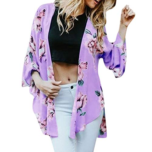Hotkey Womens Shirts Summer Plus Size Women Loose Summer Floral Print Flare Sleeve Half Cardigan Tops Purple