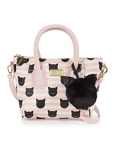 Betsey Johnson Kitty Cat Pink White Striped Crossbody Dom...