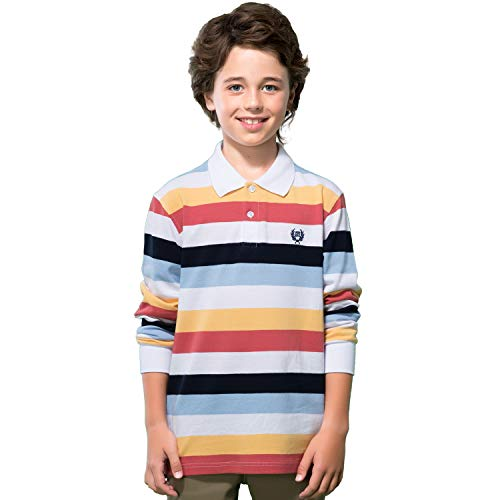Leo&Lily Boys Long Sleeves Striped Cardigan Rugby Pique Polo Shirt (Multicolored ()