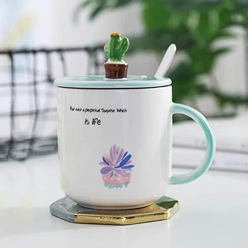 Tasses, mugs et soucoupes Vaisselle et arts de la table GLLAHPC Cactus créatif en céramique Tasse Tasse de Plantes de Bande dessinée avec Couvercle avec cuillère fraîche et élégante Tasse de café Tasse de Petit déjeuner 4pcs