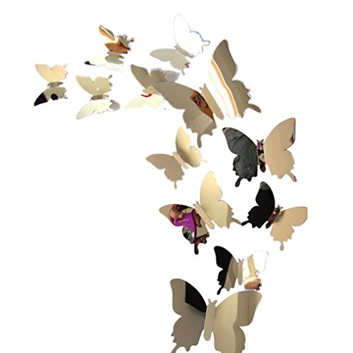 WILLTOO Wall Stickers Decal Butterflies 3D Mirror Wall Art Home Decors
