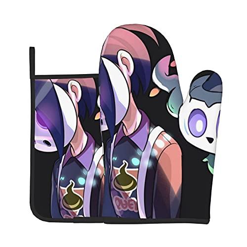 Xiaoxian Pokemon 117 Hittebestendige keukenovenhandschoenen, ovenhandschoenen en potdekselhandschoenen, veilig om te…