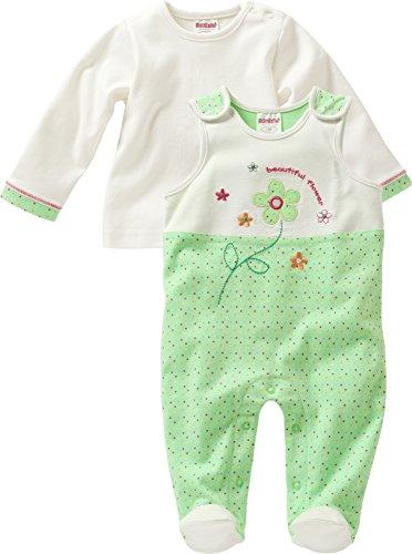 Schnizler Baby - Mädchen Strampler Set, Flower, 2 - tlg. mit Langarmshirt, Oeko - Tex Standard 100, Gr. 62, Grün (grün 29)