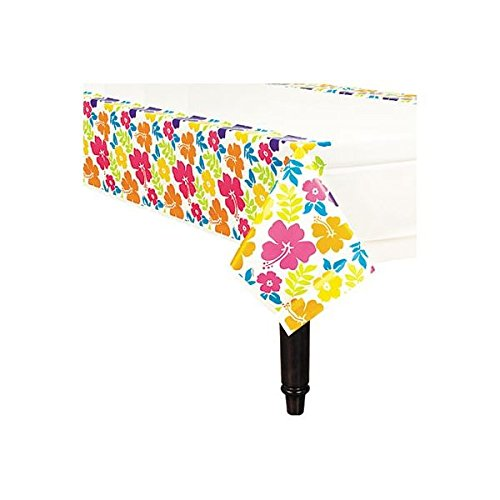 Hibiscus White Plastic Table Cover ()
