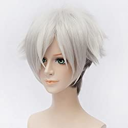 GOOACTION 30cm Short Sliver White Straight Anime Cosplay Wigs Death Parade Decim Costume Hair
