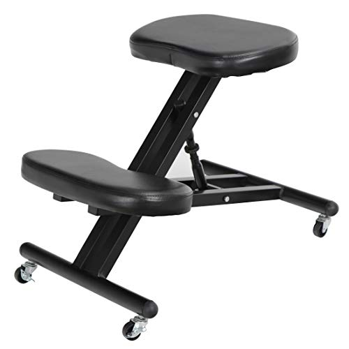 Ergonomic Kneeling Chair Adjustable Work Stool with Wheels for Home and Office - Improve Posture, Thick Cushion Pad