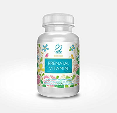 Actif Organic Prenatal Vitamin 100% Natural with DHA, EPA, Omega 3, and Organic Herbal Blend - 90 count