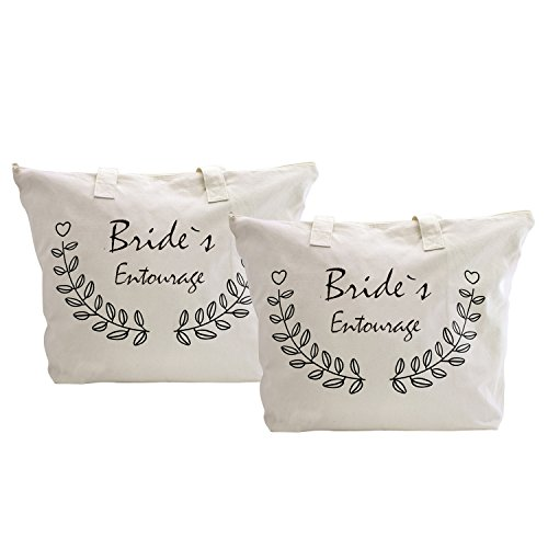 100 Packs Canvas Natural Elegantpark Mother Half 2 Zipper Bride`s Bags Tote 1 Entourage X Bag Groom EwCWHPq