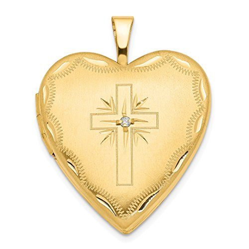 14k Yellow Gold 20mm Diamond Set Cross Religious Heart Photo Pendant Charm Locket Chain Necklace That Holds Pictures Fine Jewelry For Women Gift Set -