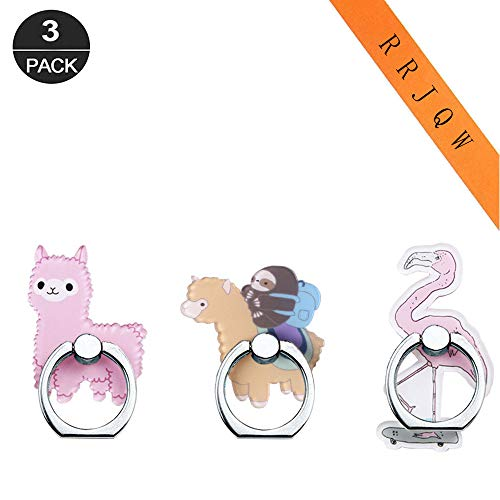 Phone Ring Holder Stand,Phone Ring Stand Holder 360 Rotation Finger Ring Grip Stand for Cellphones,Smartphones and Tablets (3 Pack Flamingo and Llama Phone Ring Holder)