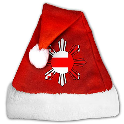(Georgia Flag Philippines Sun Symbol Christmas Hat, Red&White Xmas Santa Claus' Cap for Holiday Party)
