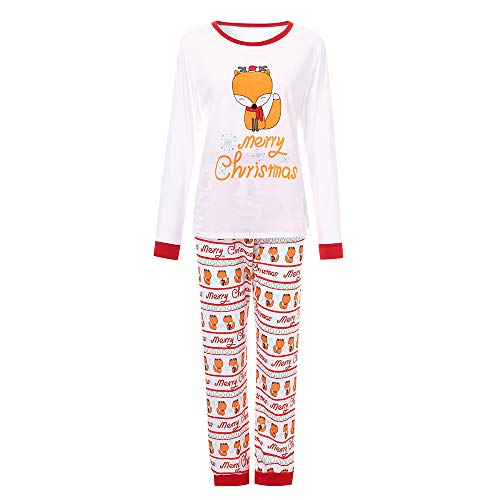 Christmas Family Clothes,Christmas Pajamas Set Cartoon Letter Print Top+Pants Sleepwear Nightwear Jumpsuit jinjiums (Mon-White, ()