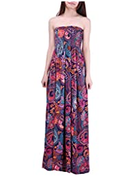 HDE-Mujer sin Tirantes Maxi Vestido Plus tamaño Tubo Superior de Largo Falda Sundress Cover Up