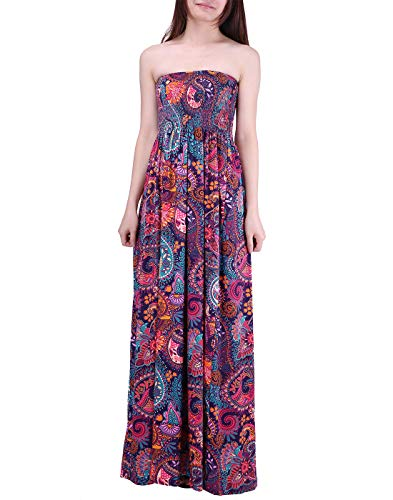HDE Women's Strapless Maxi Dress Plus Size Tube Top Long Skirt Sundress Cover Up (Purple Paisley, 2X)