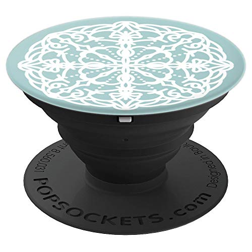 Lacy White and Blue Doily Design - PopSockets Grip and Stand for Phones and Tablets