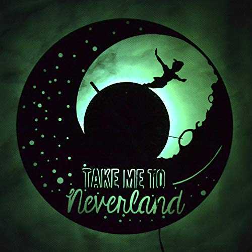 Peter Pan The Mythical Island Of Neverland Night Light Wall Lights Vinyl Record Wall Clock Modern Home Decor Vinyl Wall LIghts Indoor Wall Light Amazing Gift For Kids Night Light Gift For Any Occasion
