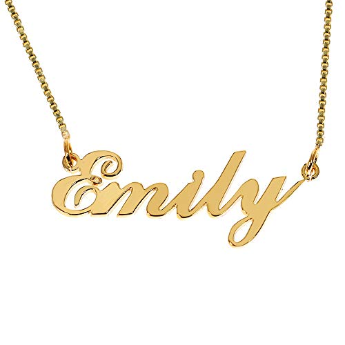Iprome Custom Personalized Initial Birthstone Name Necklace Pendant with Box Chain 18K Gold Gifts for Women ()
