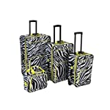 4 Piece Luggage Set Pattern: Lime Zebra, Bags Central