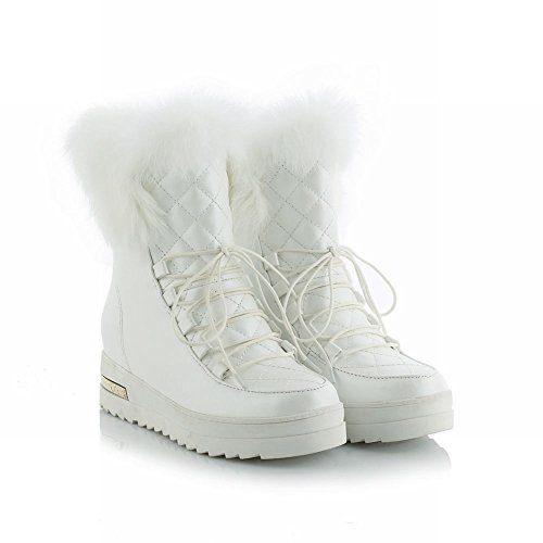 Mee Shoes Damen hidden heels mit Schnürsenkel Stiefel Weiß
