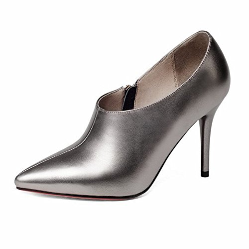 Reißverschluss Und Einfach Innen Schuhe Spitzleder Schuhen Die Seitlichem Lederfeine Nackte Stiefel Außen Ganze Wowo Mund Mit Tiefe gqqrPd