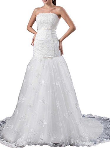 Trumpet/Mermaid Strapless Chapel Train Lace Wedding Dress (White) - 2