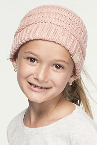 ScarvesMe C.C BeanieTail Kids Children's Soft Ponytail Messy Bun Beanie Solid Ribbed Hat (Indi Pink) by ScarvesMe (Image #1)